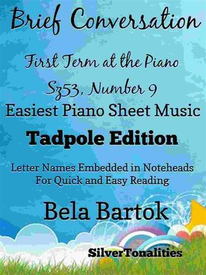 cover image of From Bela Bartok's First Term at the Piano Sz53, Number 8 Easy Note Style  Tadpole Edition
