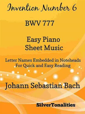 cover image of Invention Number 6 BWV 777 Easy Piano Sheet Music