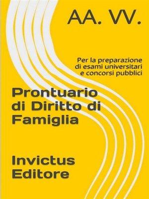 cover image of Prontuario di diritto di famiglia