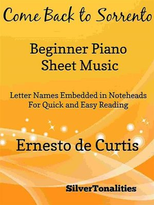 cover image of Come Back to Sorrento Beginner Piano Sheet Music