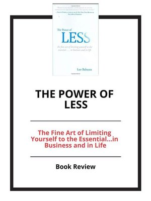 cover image of The Power of Less