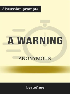 """cover image of Summary--""""A Warning"""" by Anonymous--Discussion Prompts"""