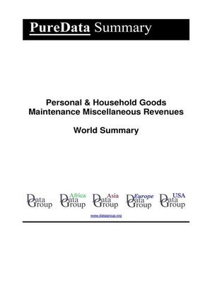 cover image of Personal & Household Goods Maintenance Miscellaneous Revenues World Summary