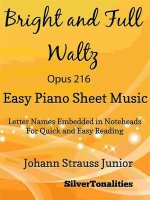 cover image of Bright and Full Waltz Opus 216 Easy Piano Sheet Music