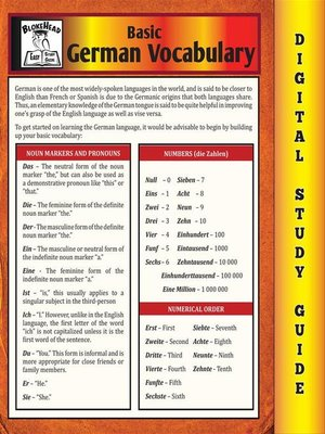 cover image of German Vocabulary (Blokehead Easy Study Guide)