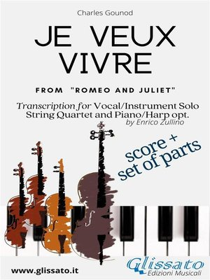 cover image of Je veux vivre--Solo, Strings and optional Harp or Piano (score & parts)
