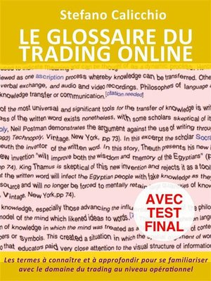 cover image of Le glossaire du trading online