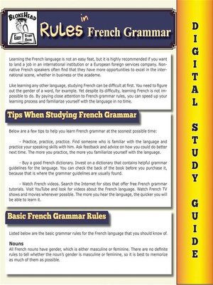 cover image of French Grammar ( Blokehead Easy Study Guide)