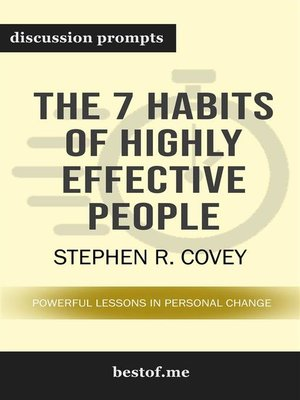 "cover image of Summary--""The 7 Habits of Highly Effective People--Powerful Lessons in Personal Change"" by Stephen R. Covey 