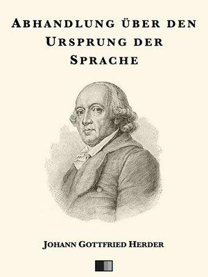 cover image of Abhandlung über den Ursprung der Sprache