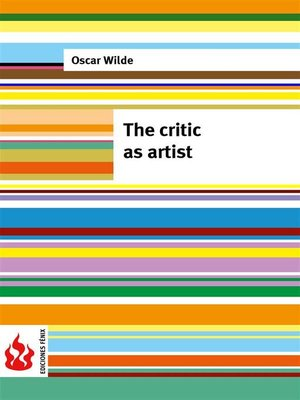cover image of The critic as artist (low cost). Limited edition