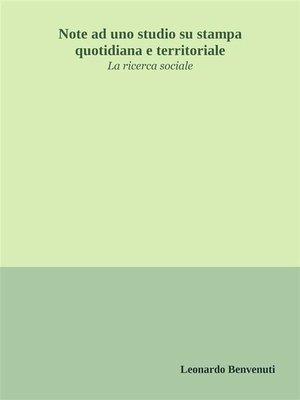 cover image of Note ad uno studio su stampa quotidiana e territoriale