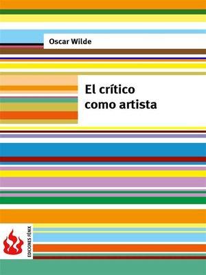 cover image of El crítico como artista (low cost). Edición limitada