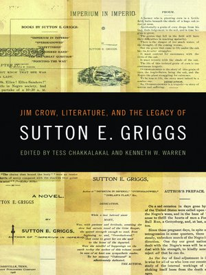 cover image of Jim Crow, Literature, and the Legacy of Sutton E. Griggs