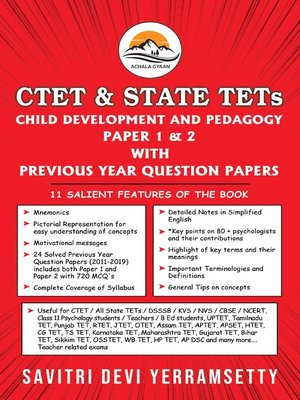 cover image of CTET & State TETs: Child Development and Pedagogy Paper 1 & 2 with Previous Year Question Papers