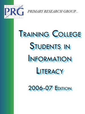 cover image of Training College Students in Information Literacy