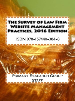 cover image of Survey of Law Firm Website Management Practices, 2016 Edition