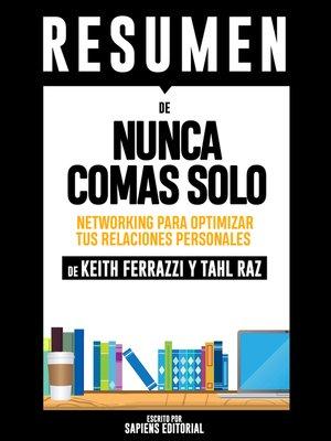 cover image of Nunca Comas Solo