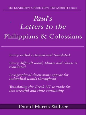 cover image of Paul's Letters to the Philippians & Colossians