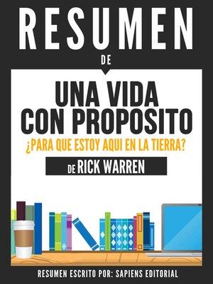 cover image of Una Vida Con Proposito