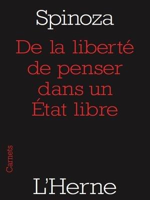 cover image of De la liberté de penser dans un État libre