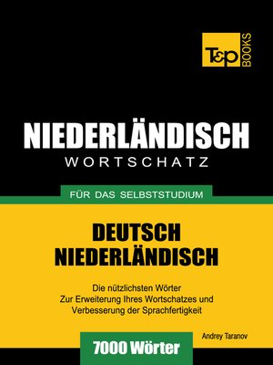 cover image of Deutsch-Niederländischer Wortschatz für das Selbststudium