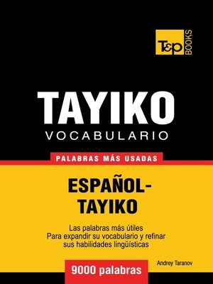 cover image of Vocabulario Español-Tayiko