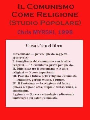 cover image of Il Comunismo Come Religione (Studio Popolare)