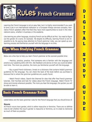 cover image of Rules In French Grammar ( Blokehead Easy Study Guide)