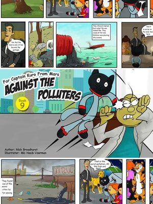 cover image of Captain Kuro From Mars Against the Polluters Comic Strip Book