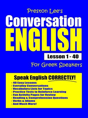 cover image of Preston Lee's Conversation English For Greek Speakers Lesson 1