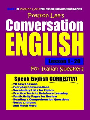 cover image of Preston Lee's Conversation English For Italian Speakers Lesson 1