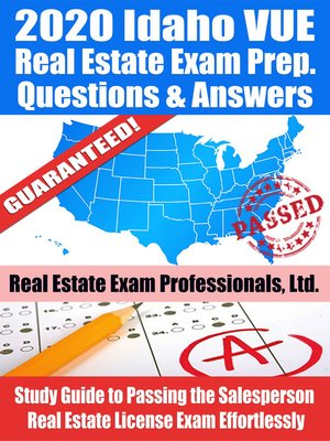 cover image of 2020 Idaho VUE Real Estate Exam Prep Questions & Answers