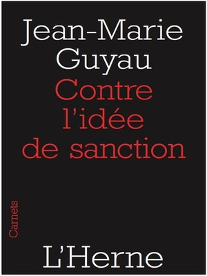 cover image of Contre l'idée de sanction