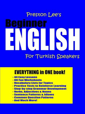 cover image of Preston Lee's Beginner English For Turkish Speakers