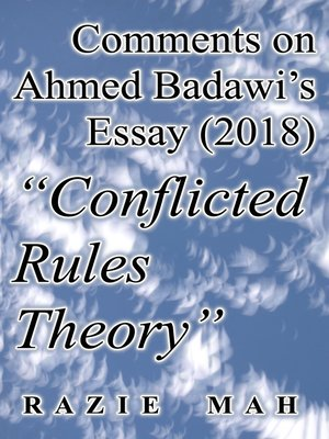 """cover image of Comments on Ahmed Badawi's Essay (2018) """"Conflicted Rules Theory"""""""