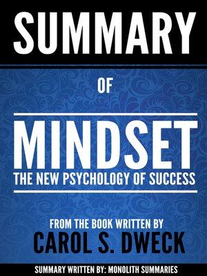 cover image of Summary of Mindset