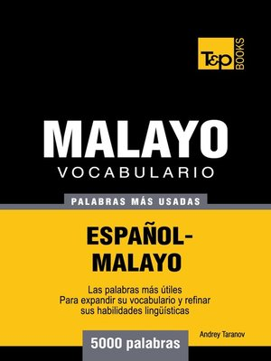 cover image of Vocabulario Español-Malayo