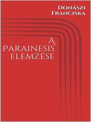 cover image of A Parainesis elemzése