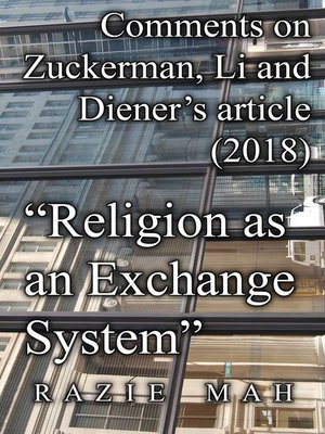"""cover image of Comments on Zuckerman, Li and Diener's Article (2018) """"Religion as an Exchange System"""""""