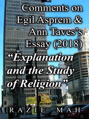 """cover image of Comments on Egil Asprem and Ann Taves's Essay (2018) """"Explanation and the Study of Religion"""""""