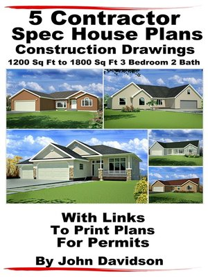 5 Contractor Spec House Plans Blueprints Construction Drawings 1200 Sq Ft  to 1800 3 Bedroom 2 Bath