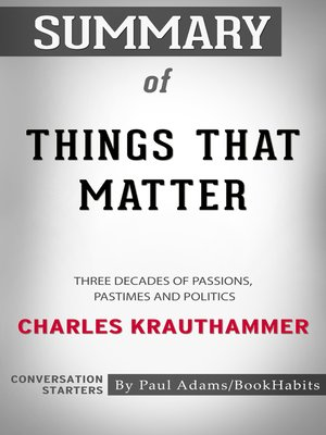 cover image of Summary of Things That Matter