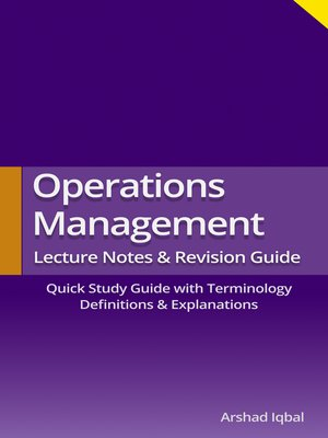 cover image of Operations Management Quick Study Guide (Terminology)
