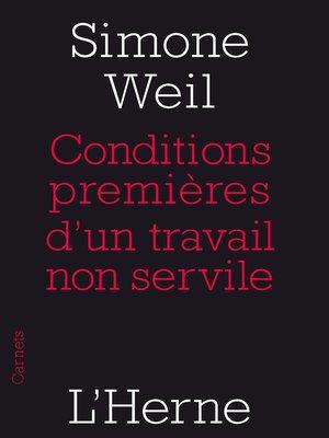 cover image of Conditions premières d'un travail non servile
