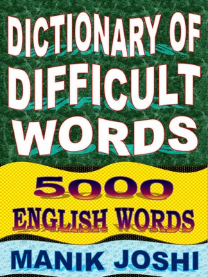 cover image of Dictionary of Difficult Words