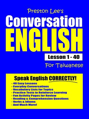 cover image of Preston Lee's Conversation English For Taiwanese Lesson 1