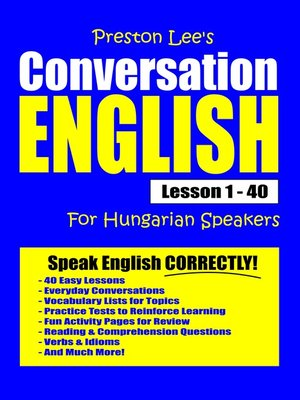cover image of Preston Lee's Conversation English For Hungarian Speakers Lesson 1
