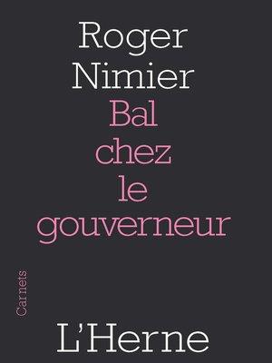 cover image of Bal chez le gouverneur