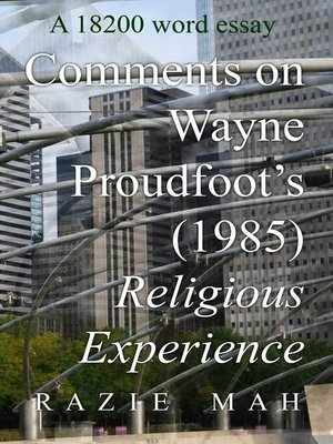cover image of Comments on Religious Experience (1985) by Wayne Proudfoot